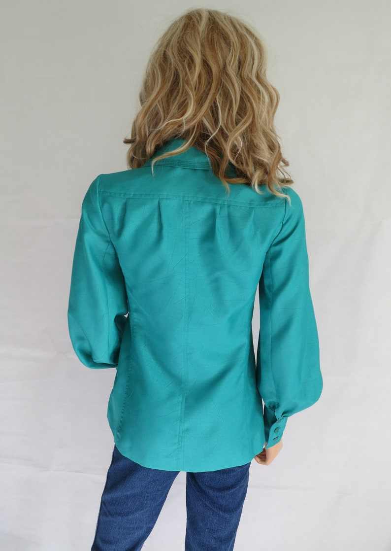 large coller long puff sleeves jade green small french 70/'s retro vintage Green fitted blouse shirt top