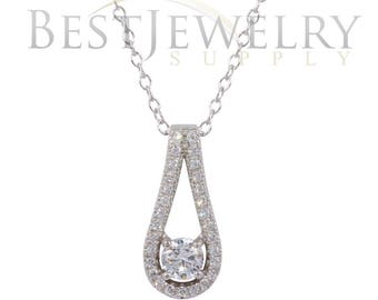 Sterling Silver .925 Rhodium Plated Accent Pendant Necklace with CZ