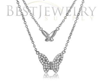 Sterling Silver .925 Rhodium Plated Double Butterfly Pendant Necklace With CZ