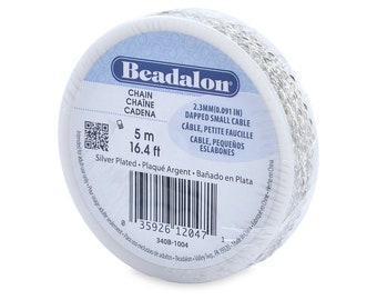 Beadalon 2.3mm Jewelry Making Chain, 5m, Dapped Small Cable, Silver Plated 340B