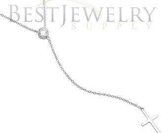 Sterling Silver .925 Rhodium Plated Single CZ Stone With Drop Cross Necklace