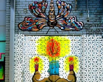 Mural Art, Street Art Print, Moth To A Flame, Painting, Spiritual Art, Vela Fine Art, Matted Art, Reclaimed Wood Frame, Canvas Prints