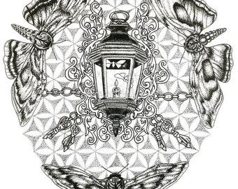 Moth and Lantern Art- Flower of Life Art - Moths to a Flame Art- Fine Art- Matted Art, Reclaimed Barn Wood Frames, Canvas Prints