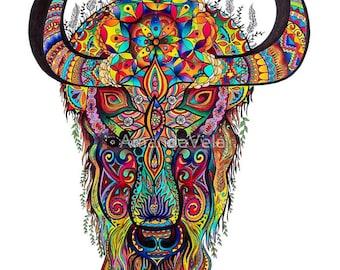 Bison Art, Buffalo Art, Yak, Spirit Animal Art, Bohemian, Spiritual Art, Mandala, Psychedelic, Reclaimed Wood Frame, Boho Canvas Prints