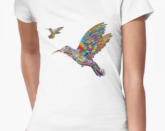Hummingbird T-shirt/Festival Tee/Organic T-shirt/Metatron's Cube T-shirt/Indie Art Clothing/Eco-friendly Clothing/Spiritual Clothing