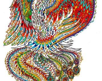 Phoenix Art-Bird Art-Spirit Animal-Spiritual Art-Metaphysical Art- Mythical -Fantasy Art - Zentangle Mandala Psychedelic Art Reclaimed Wood
