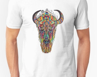 Buffalo T-shirt, Organic Buffalo T-shirt, Psychedelic T-shirt, Bison Tshirt, Buffalo Art, Bison Art, Tatanka, Buffalo Spirit Animal T-shirt