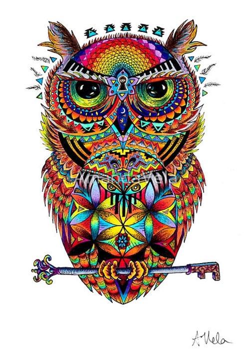 Owl Art Spirit Animal Art Spiritual Art Flower Of Life Etsy