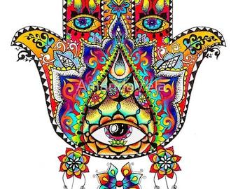 Hamsa Art - Hand of Fatima - Evil Eye - Metaphysical Art- Spiritual Art - Mandala - Psychedelic Art, Reclaimed Wood Frame, Canvas Prints