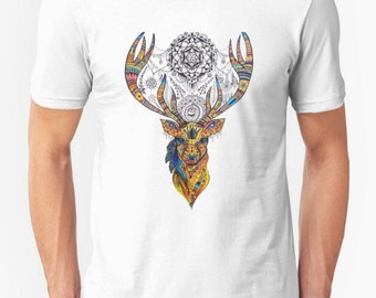 Deer T-shirt-Spiritual Clothing - Organic Tee for Women and Men - Visionary Art Clothing - Elk Art T-shirt - Vela - Organic Animal Shirt