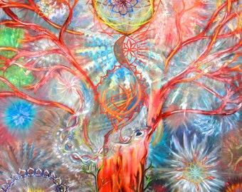 Tree of Life Art, Seed of Life, Thousand Petal Lotus, Mandala, Abstract Painting, Vela Fine Art- Matted, Reclaimed Wood Frame, Canvas Prints