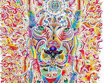 Lion Art, Lion Spirit Animal Matted Print, Reclaimed Barn Wood Frame, Lion Canvas Prints