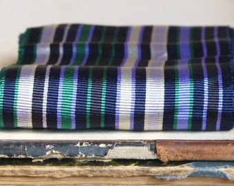 Antique French jacquard silk grosgrain millinery ribbon trim, embroidery edging, stripe blue, white & emerald costume design