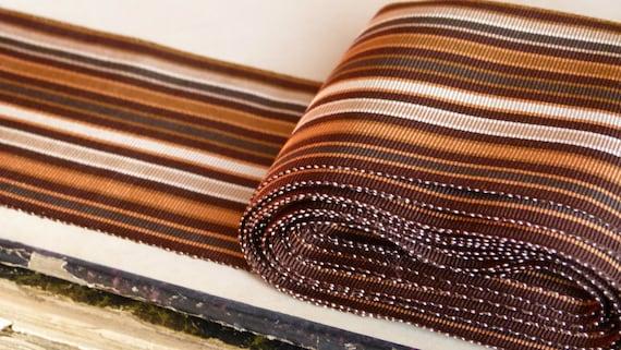 Antique French jacquard jacquard jacquard silk grosgrain millinery ribbon trim, embroidery edging, stripe chocolate, caramel & cream costume design b1d3d5