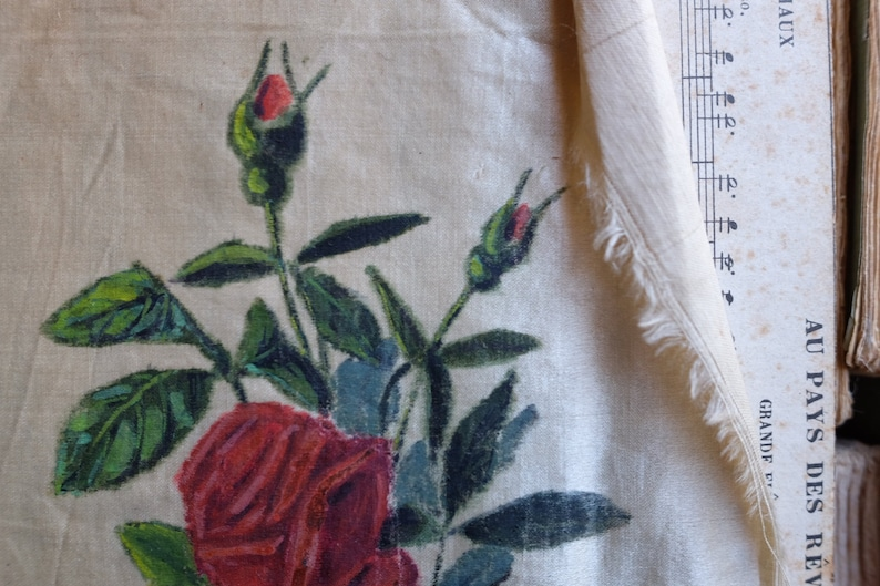 collector fabric luxury Antique 19th century french jacquard silk ribbon w hand painted red rose floral motif decor