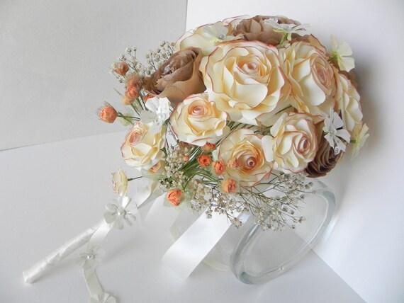Beige Und Braun Hochzeit Blumenstrauss Rosen Fallen Etsy