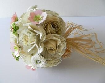 Bouquet de mariée mariage en papier Origami couleur crème