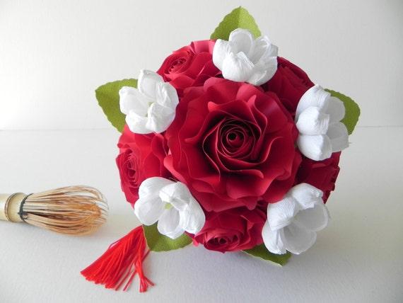 Bouquet De Mariage Rouge Et Blanc Bouquet De Demoiselle D Honneur Fait Main En Origami Bouquet Mariage Japonais
