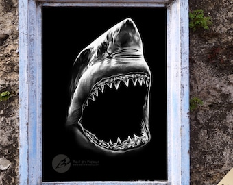 Shark inverted drawing limited edition GICLÉE PRINT - Art by Kerli