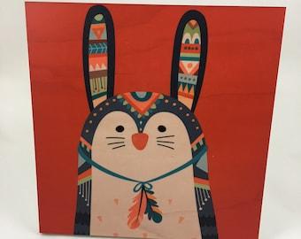 Bunny Rabbit Tribal Wood Wall Art, Cabin or Nursery Decor, Colorful Graphic Art print on wood, woodland animals,