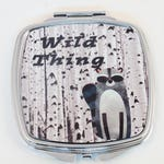 Wild Thing, compact mirror with Raccoon graphic