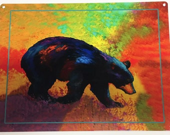 "Black Bear Colorful Wall Art 9"" x 12"" Reclaimed Metal Sign, Man Cave , Cabin Decor"