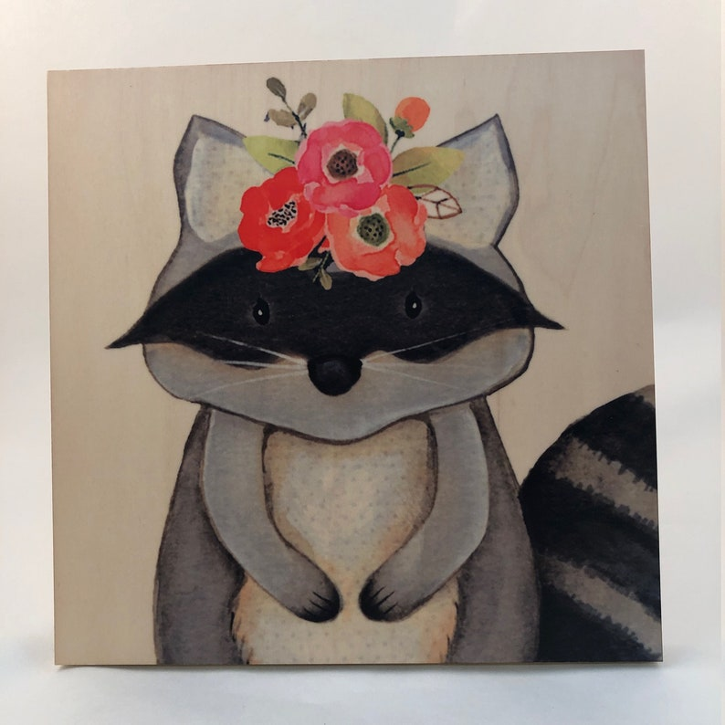 Raccoon with flower head dress  Woodland Critter Nursery image 0