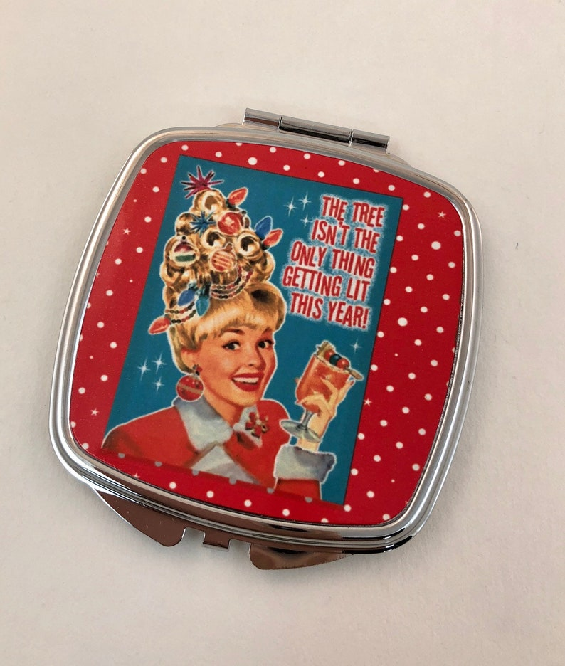 Christmas Holiday Retro compact mirror with 1950's image 0