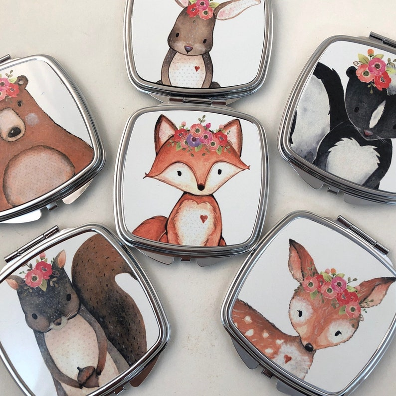 Frida the Fox Flower Little girls Compact Mirror Make up image 0