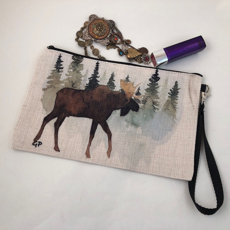 Moose and evergreen  trees painting printed on a Burlap linen image 0