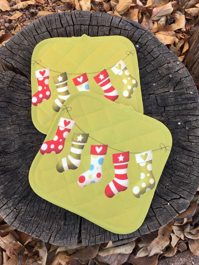 Christmas Stockings  Pot Holders set of two Foodie Gift image 0