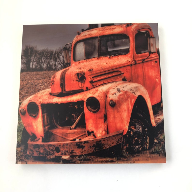 Rusty Pickup Truck Art print on wood Father's Day image 0