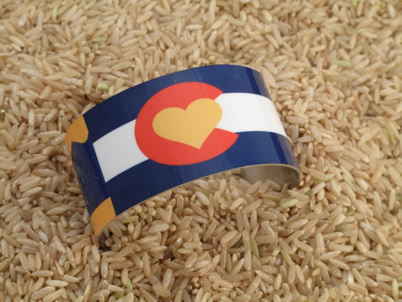 Colorado State Flag with heart  Aluminum Cuff Bracelet image 0