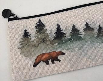 Evergreen bear watercolor faux burlap pencil  Bag,  zippered pouch, Pencil Bag