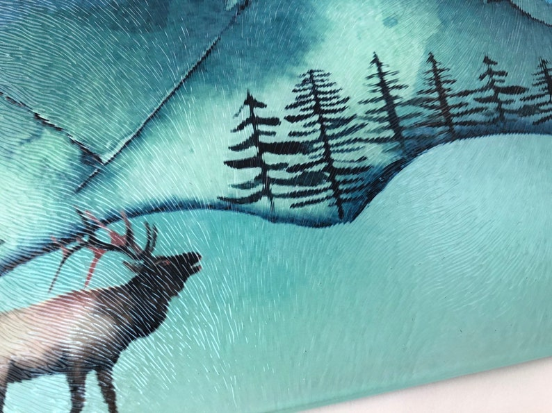 Cutting  board Majestic  Mountain  watercolor scene Glass image 0