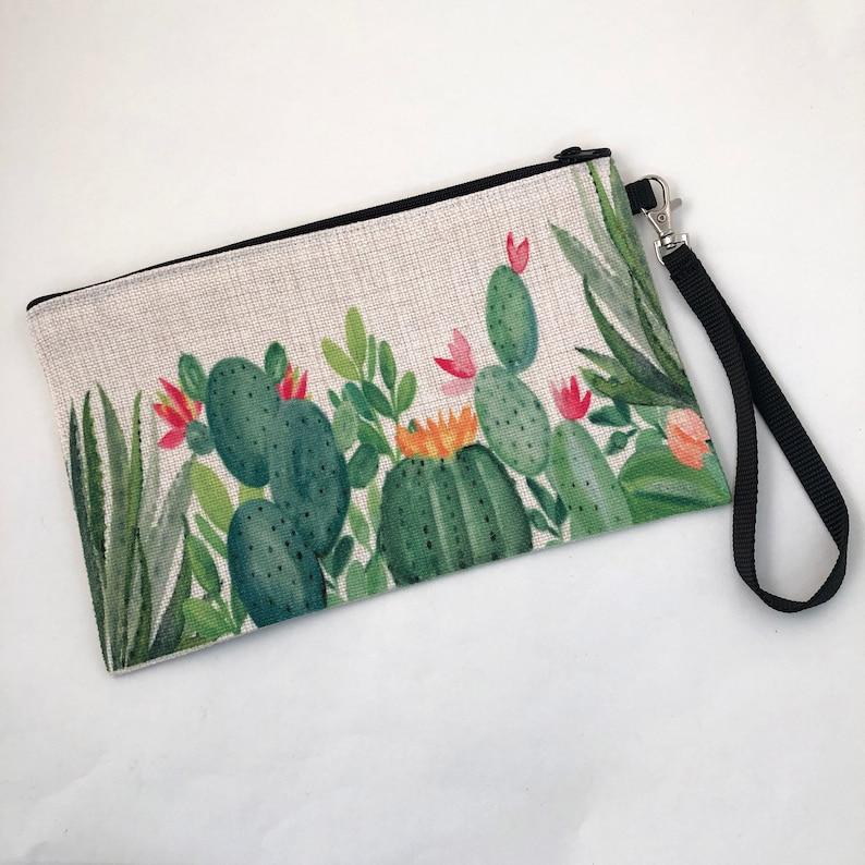 Money and Cell Phone Bag Makeup Bag Cactus Garden linen wristlet bag zippered pouch