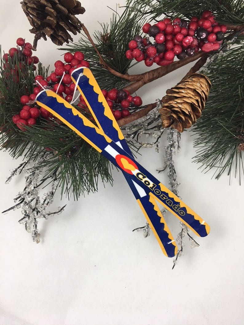 Customizable Ski Christmas Tree Ornament  Colorado image 0