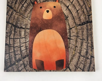 Bear Woodland Wall Art, Cabin or Nursery Decor, Colorful Graphic Art print on wood, Wood Wall Art