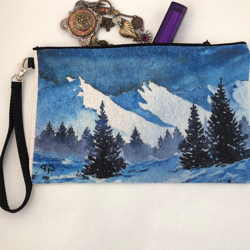 Snow covered  winter mountain scenic painting printed on a image 0