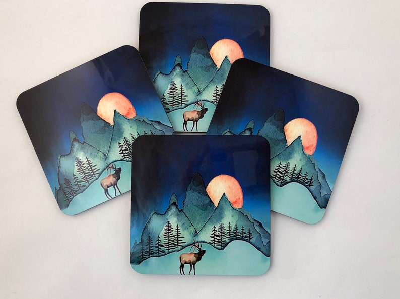 The Mountains are Calling  coaster set  Watercolor painting image 0