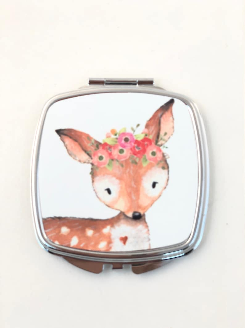 Della the Deer Flower Little girls Compact Mirror Make up image 0