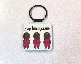 Squid Game Gold Glitter Key Fob, Square with metal ring,