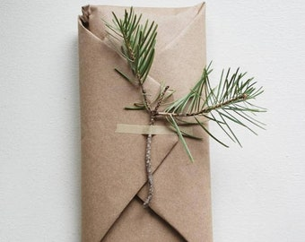 Natural Biodegradable Gift Wrapping....Perfect and Thoughtful Style...Organic Gift Wrapping for your Special Gift....Holiday Gift Ideas