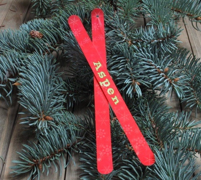 Ski Christmas Ornament Personalized gift for skiermini ski image 0
