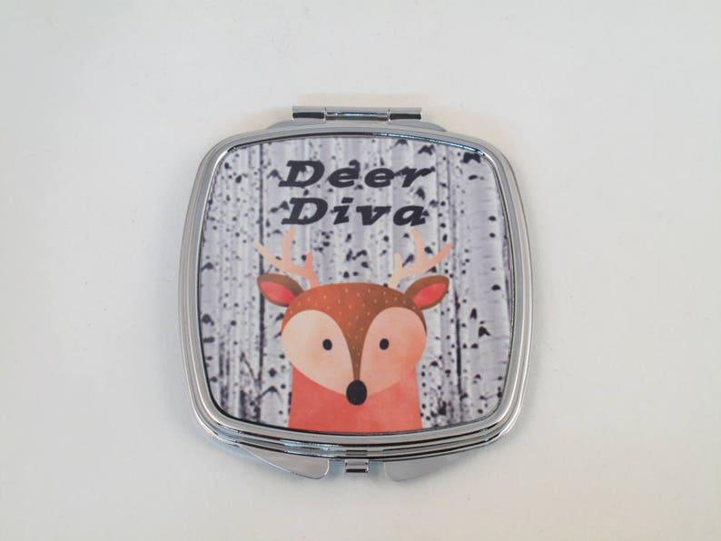 Deer Diva compact mirror with Deer graphic image 0
