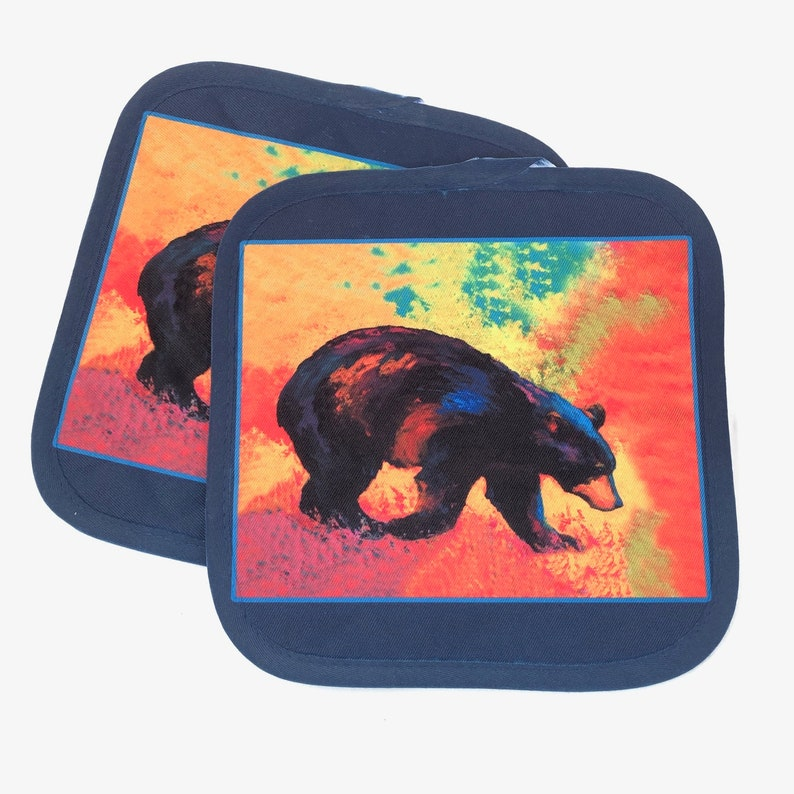 Black Bear Art Pot Holders Hot Pads Cabin style home decor image 0