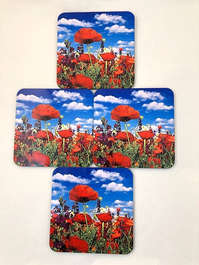 Red Poppies Blue Sky  Wildflowers  coaster set  image 0