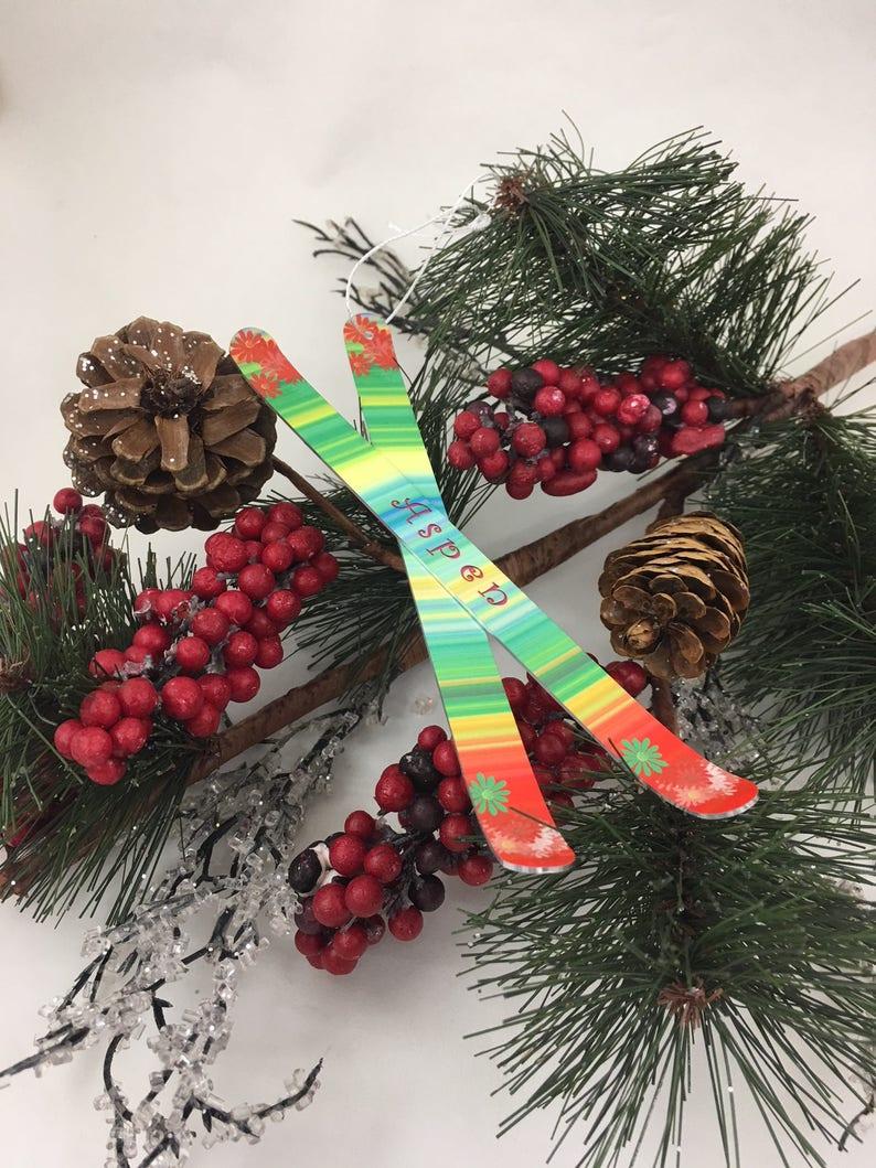 Ski Christmas Ornament Personalized Mini Holiday Ski image 0