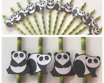 Panda straws, decorative straws, party decor , party straws