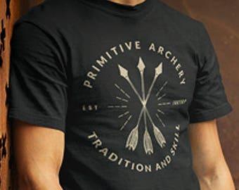 27c821d6 Primitive Archery Unisex Men's T-shirt, Archery Gift, Traditional Archery  shirt, Archery Shirt, Archer Gift, Bow and Arrow Gift, Hunter Gift